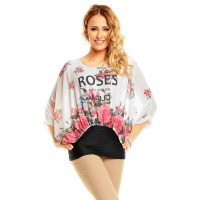 CHIFFON SHIRT WITH LONG BATWING SLEEVES AND FLOWERS...