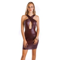 CLUB MINIDRESS WET LOOK WITH CROSSED-OVER FRONT SIDE...