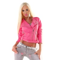 SEXY LADIES BIKER JACKET IN LEATHER-LOOK WITH BELT FUCHSIA