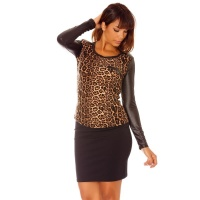 LADIES LONGSLEEVED SHIRT WITH WET LOOK INSET LEOPARD...