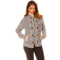LADIES CARDIGAN KNITTED JACKET WITH FAKE FUR AND CABLE...