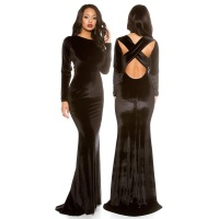 DIVALIKE FLOOR-LENGTH EVENING DRESS GOWN MADE OF VELVET BLACK