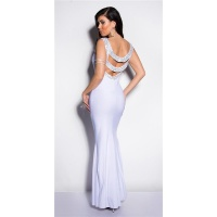 DIVA-LIKE GALA GLAMOUR EVENING DRESS WITH RHINESTONES WHITE