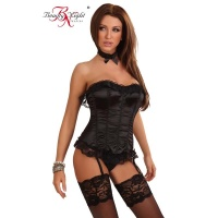 NOBLE 3 PCS LUXURY CORSET MADE OF SATIN WITH LACING BLACK