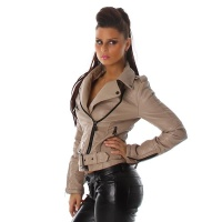 NOBLE PREMIUM QUALITY BIKER-JACKET IMITATION LEATHER LIGHT BROWN UK 12
