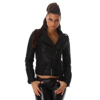 NOBLE PREMIUM QUALITY BIKER JACKET IMITATION LEATHER BLACK UK 8