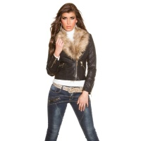 NOBLE BIKER JACKET IN LEATHER-LOOK WITH FAKE FUR COLLAR...
