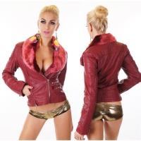 NOBLE BIKER-STYLE LADIES JACKET IMITATION LEATHER WINE-RED