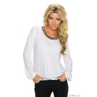 NOBLE CHIFFON BLOUSE TRANSPARENT WITH RHINESTONES WHITE