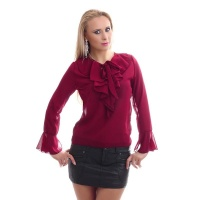 ELEGANT CHIFFON BLOUSE TRANSPARENT WITH BOW TIE AND FLOUNCES WINE RED Onesize (UK 8/10)