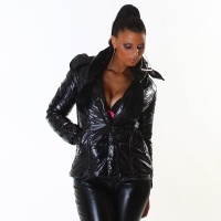 NOBLE SHINY WINTER JACKET WET LOOK BLACK