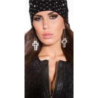 NOBLE EARRINGS WITH GLITTERING RHINESTONE CROSS BLACK/GOLD