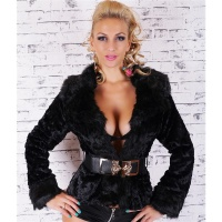 NOBLE FAKE FUR JACKET TEDDY JACKET SOFTY WITH STRETCH-BELT BLACK