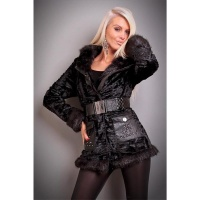 PRECIOUS FAKE FUR JACKET TEDDY JACKET SOFTY BLACK