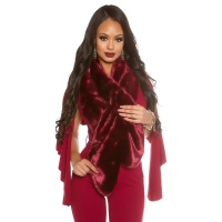 NOBLE FAKE FUR STOLE SCARF CAPE WINE-RED
