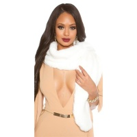 NOBLE FAKE FUR STOLE SCARF CAPE WHITE