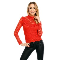 LADIES LONG-SLEEVED LACE BLOUSE TRANSPARENT RED