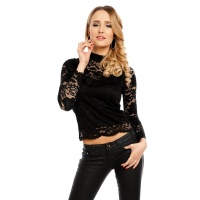 LADIES LONG-SLEEVED LACE BLOUSE TRANSPARENT BLACK