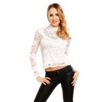 LADIES LONG-SLEEVED LACE BLOUSE TRANSPARENT WHITE