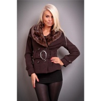 PRECIOUS LUXURY JACKET WITH FAKE FUR BELT BROWN