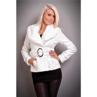 PRECIOUS LUXURY JACKET WITH FAKE FUR BELT WHITE