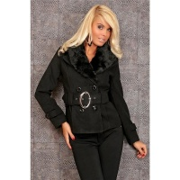 PRECIOUS LUXURY JACKET WITH FAKE FUR BLACK