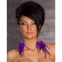 PRECIOUS EARRINGS WITH PLUMES JEWELLERY GOLD/PURPLE