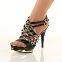 EXCLUSIVE PLATFORM SANDALS HIGH HEELS WITH RHINESTONES BLACK