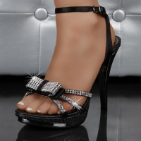 SWEET PLATEAU SANDALS WITH RHINESTONES BLACK
