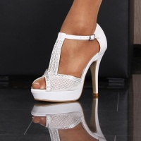 PLATFORM SANDALS WITH RHINESTONES WEDDING SHOES CREME-WHITE