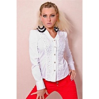 ELEGANT REDIAL LONG-SLEEVED BLOUSE RHINESTONES LACE WHITE
