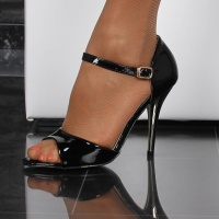 NOBLE SANDALS IN GLOSSY PATENT LEATHER LOOK WITH ANKLE STRAPS BLACK UK 3.5