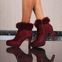 NOBLE VELVET ANKLE BOOTS WITH FAKE FUR AND FUNNEL HEEL...