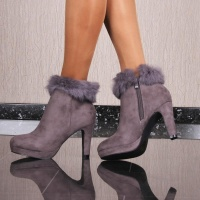 NOBLE VELVET ANKLE BOOTS WITH FAKE FUR AND FUNNEL HEEL GREY