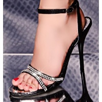 SWEET SANDALS WITH RHINESTONES BLACK UK 3.5