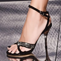 SWEET VELVET SANDALS WITH RHINESTONES BLACK