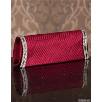 ELEGANT GLAMOUR SATIN CLUTCH BAG WITH RHINESTONES WINE-RED