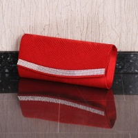NOBLE GLAMOUR SATIN CLUTCH BAG WITH RHINESTONES RED