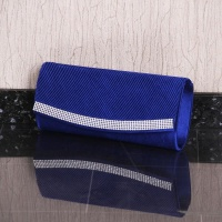 NOBLE GLAMOUR SATIN CLUTCH BAG WITH RHINESTONES ROYAL BLUE