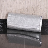 NOBLE GLAMOUR SATIN CLUTCH BAG WITH RHINESTONES SILVER