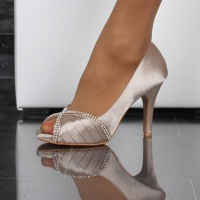 GLAMOROUS SATIN PEEP TOES PUMPS WITH RHINESTONES CHAMPAGNE
