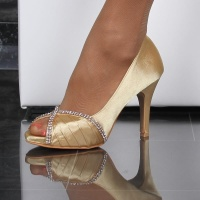 GLAMOROUS SATIN PEEP TOES PUMPS WITH RHINESTONES GOLD