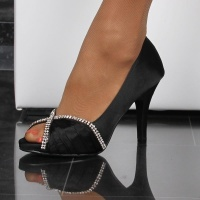 GLAMOROUS SATIN PEEP TOES PUMPS WITH RHINESTONES BLACK
