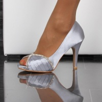 GLAMOROUS SATIN PEEP TOES PUMPS WITH RHINESTONES SILVER