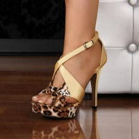 SEXY SATIN SANDALS PLATFORMS HIGH HEELS LEOPARD-LOOK YELLOW