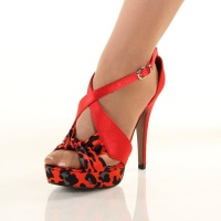 SEXY SATIN SANDALS PLATFORMS HIGH HEELS LEOPARD-LOOK RED