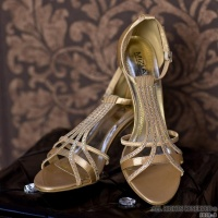 SWEET SATIN SANDALS WITH RHINESTONES GOLD