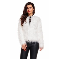 NOBLE JACKET MADE OF SUPER SOFT FAKE FUR WHITE