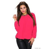 NOBLE TRANSPARENT CHIFFON BLOUSE WITH RHINESTONES FUCHSIA