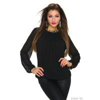 NOBLE TRANSPARENT CHIFFON BLOUSE WITH RHINESTONES BLACK